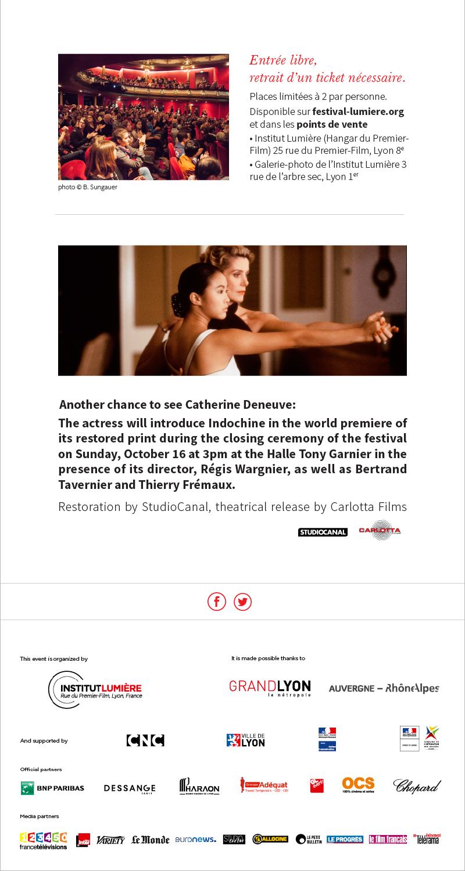 Rencontre avec Catherine Deneuve, vendredi 14 octobre au Théâtre des Célestins.