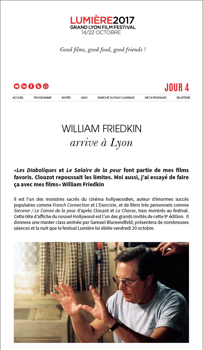 William Friedkin arrive à Lyon