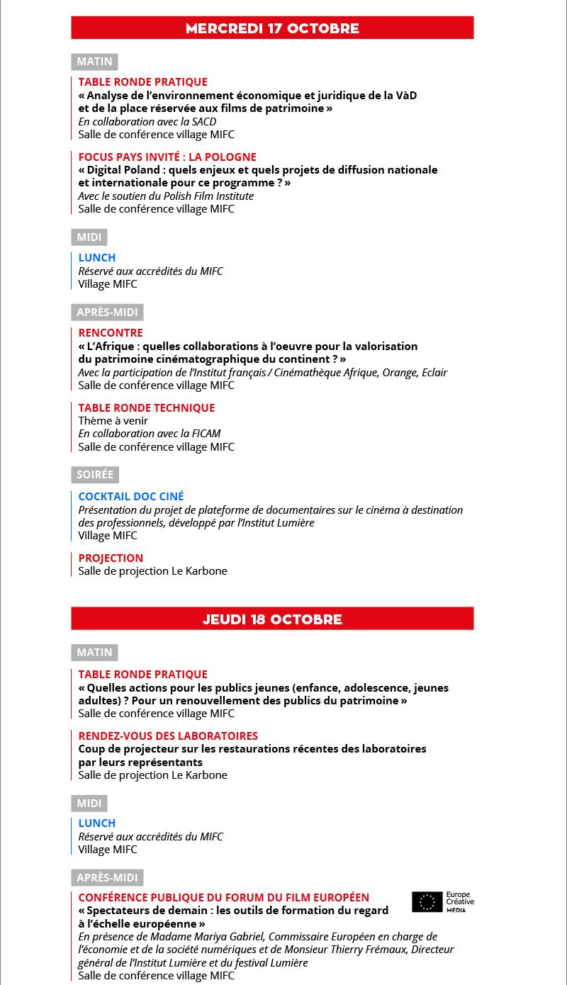 MIFC 2018 6e édition : programme prévisionnel