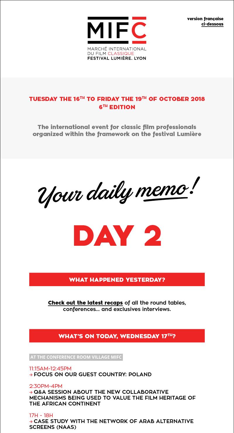 Your daily memo D2 / Votre mémo quotidien J2