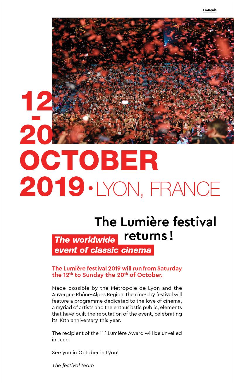 Les dates du festival Lumière 2019 / The dates of the Lumière festival 2019