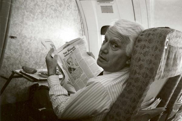 Jorge Semprun lors d'un voyage à Moscou pour présenter <em>L'Aveu</em> (1970)