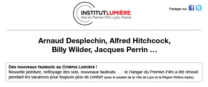 Septembre à l'Institut Lumière (Desplechin, Hitchcock, Billy Wilder... et les soirées de présentation du festival ! Haut