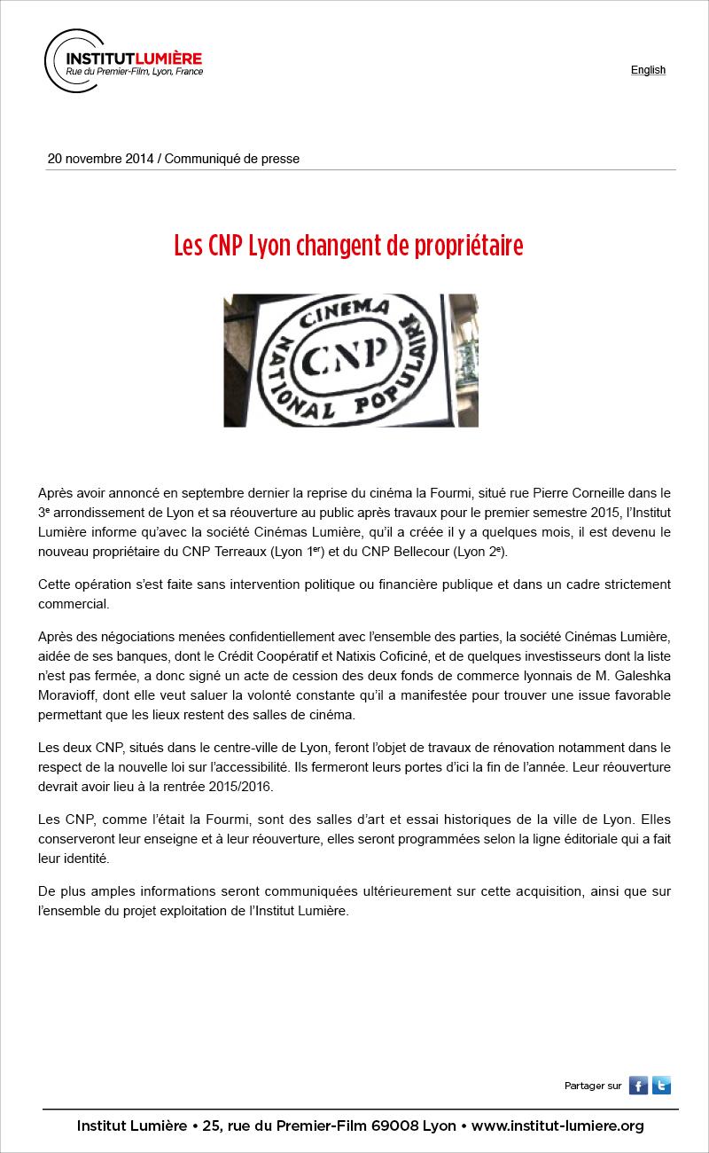 Les CNP Lyon changent de propriétaire