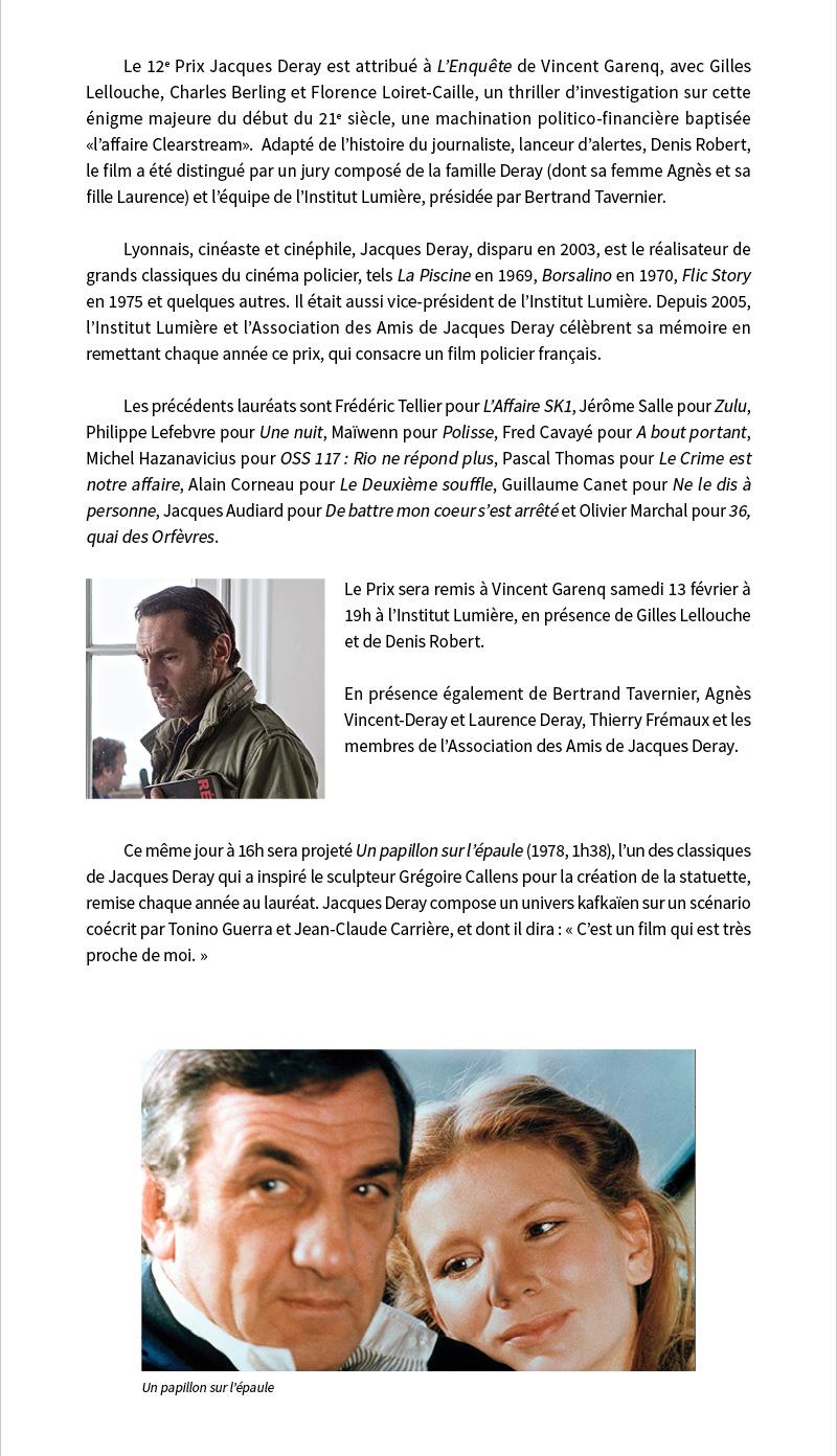 Qui va gagner le 12e Prix Jacques Deray ?